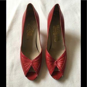 Vintage Salvatore Ferragamo red peep toe heels